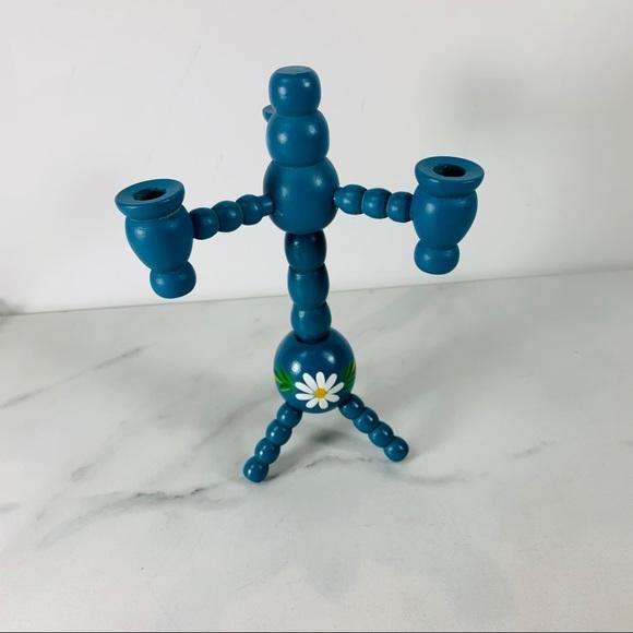 Primitive Blue Wood Candlestick Tole Painted